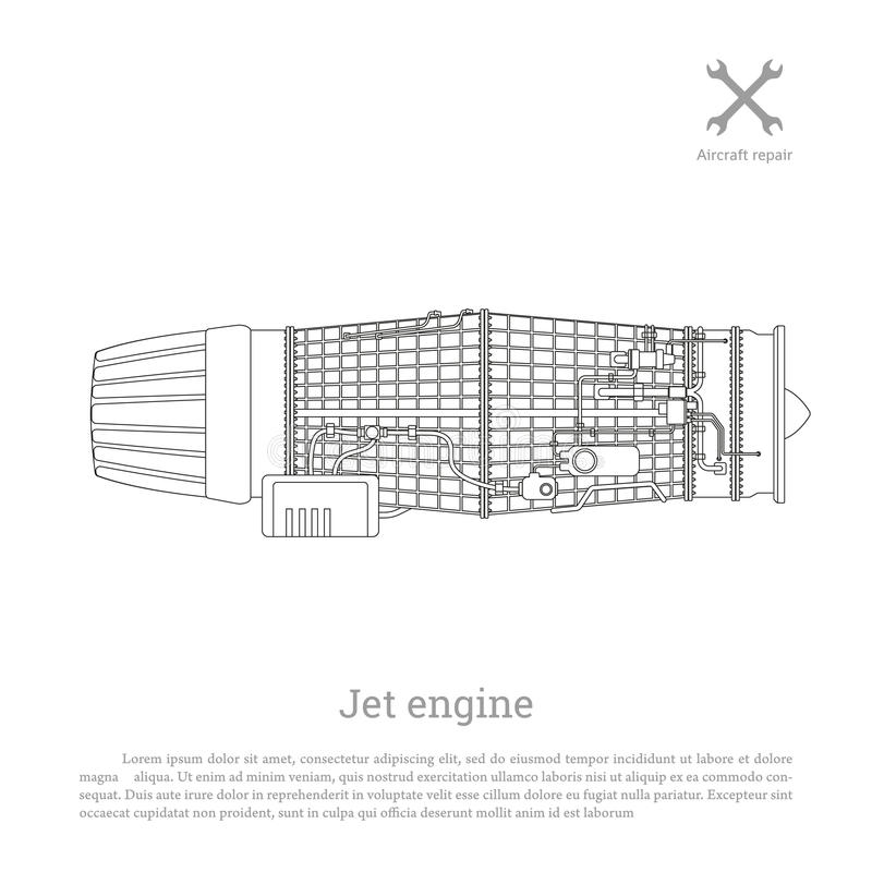 Motor a reacción en un estilo del esquema Pieza de los aviones Vista lateral ilustración del vector