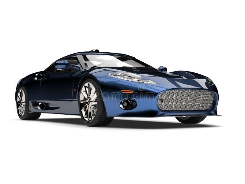 Motor- Schönheitsschuß des modernen metallischen tiefen blauen Supersports stock abbildung