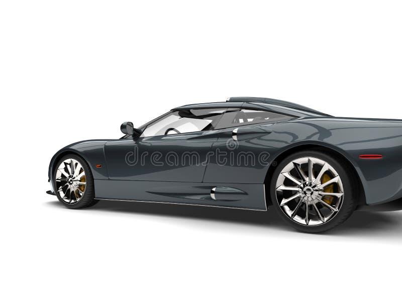 Motor- Seitenansicht des dunklen metallischen grauen Supersports schnitt Schuss lizenzfreie abbildung