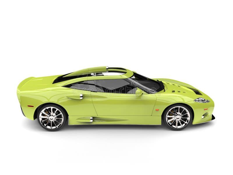 Motor- Seitenansicht des Leuchtstoff grünen modernen Supersports lizenzfreie abbildung