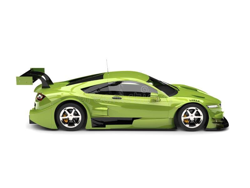 Motor- Seitenansicht des metallischen hellgrünen modernen Supersports lizenzfreie abbildung