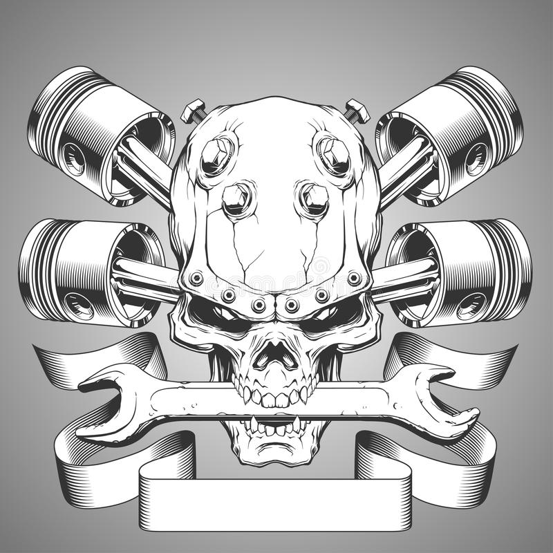 Motor skull emblem. In vector on white background vector illustration
