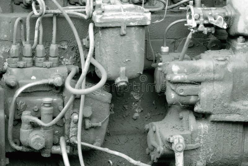 Motor sujo velho fotografia de stock