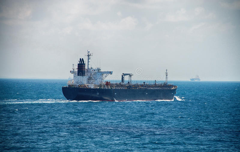 A Motor Tanker Sailing on the High Sea royalty free stock images