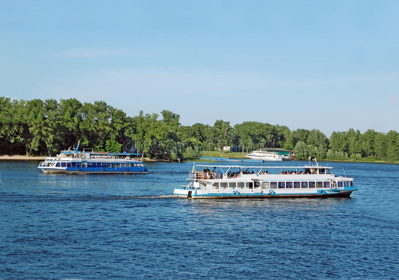 Motor travel river ship. Tourist boat on the Dnieper river, Kiev, Ukraine stock images