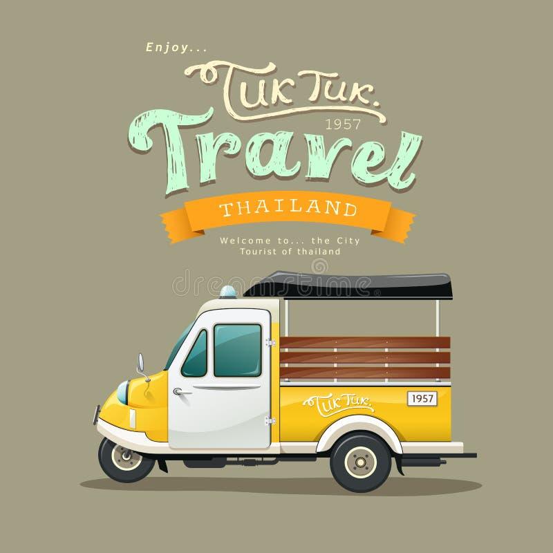 Motor-triciclo amarelo do vintage (Tuk Tuk) Tailândia ilustração royalty free