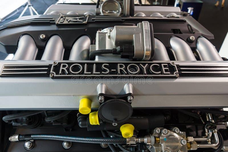 Motor V12 DOHC (BMW N73) da Rolls royce fotografia de stock royalty free
