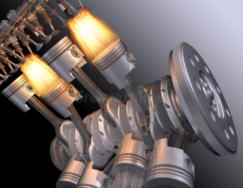 Motor V8. The working motor V8. 3D image royalty free illustration