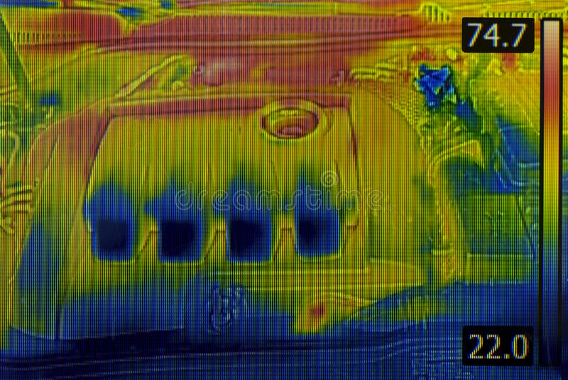Motor van een auto Thermisch Beeld stock fotografie