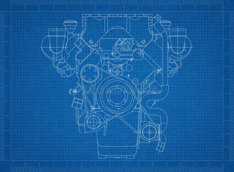 Motor van een autoblauwdruk stock illustratie