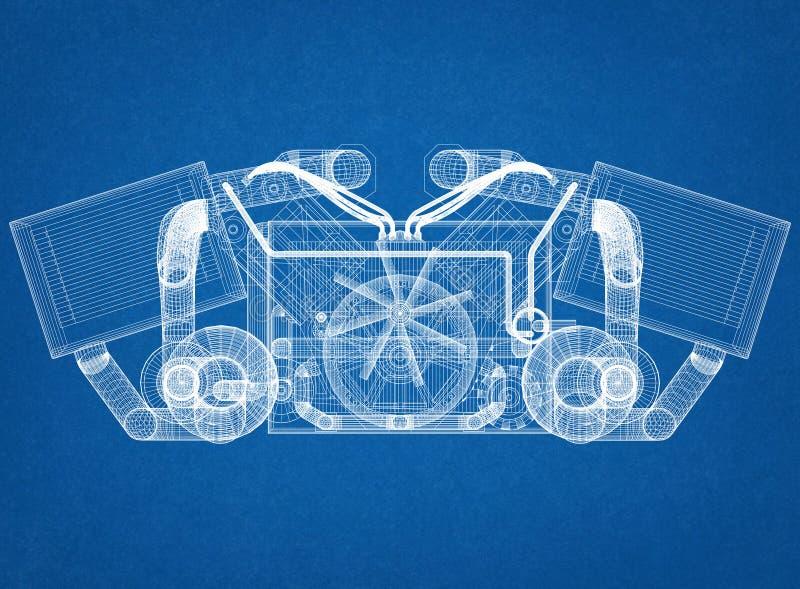 Motor van een autoconcept - Architect Blueprint royalty-vrije stock afbeeldingen