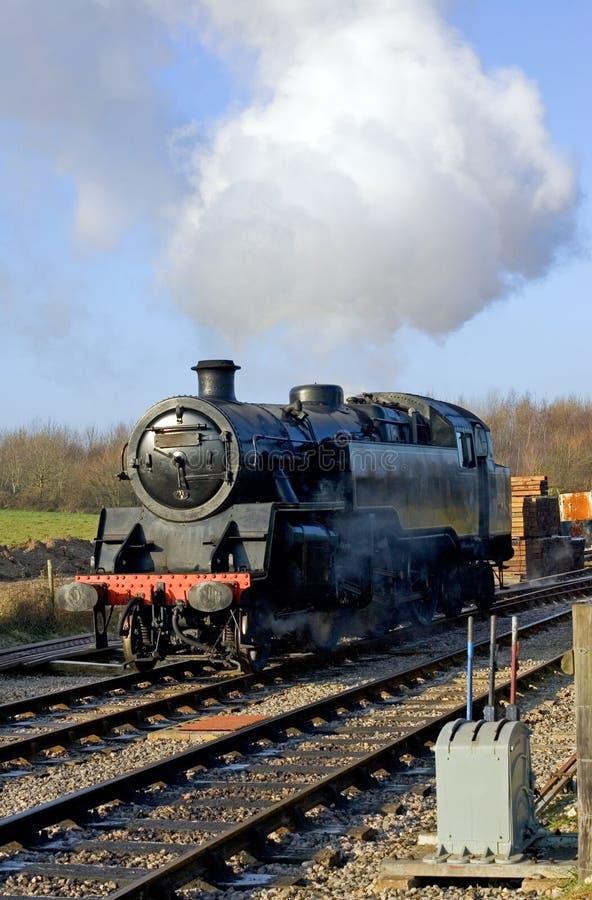 Motor van oude stoomtrein bij Kasteel Swanage in Wareham, Dorset stock afbeeldingen
