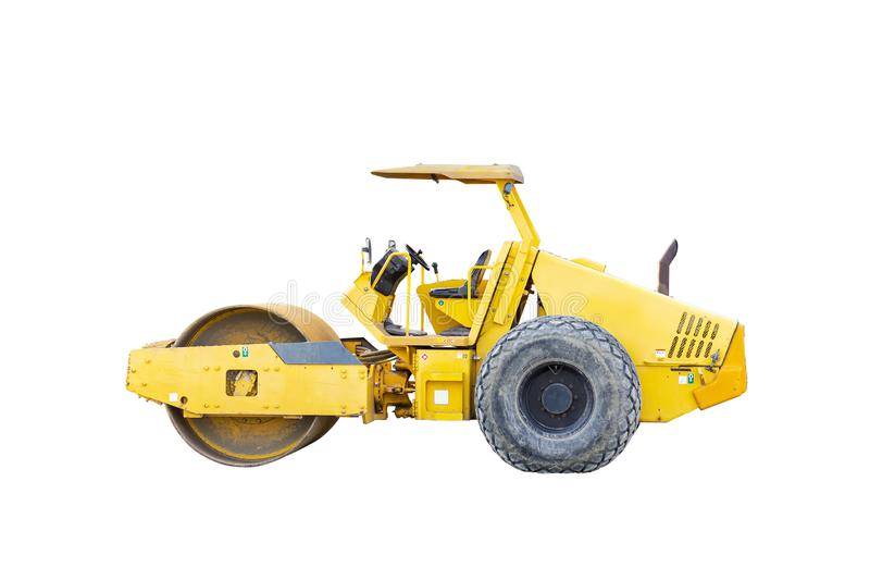 Motor vehicle or heavy roller or steamroller for road making or street - highway construction isolated on white background with royalty free stock images