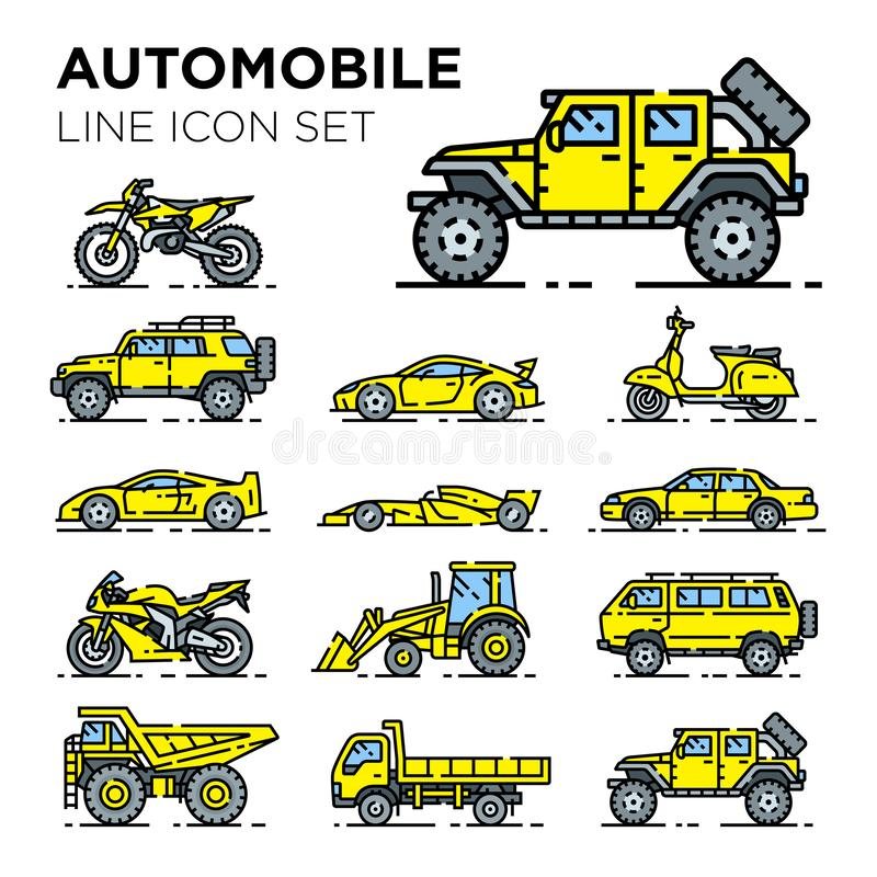 Motor vehicle line icon set. Automotive vector collection. Automobile transport symbols. Auto car transportation illustrations stock illustration