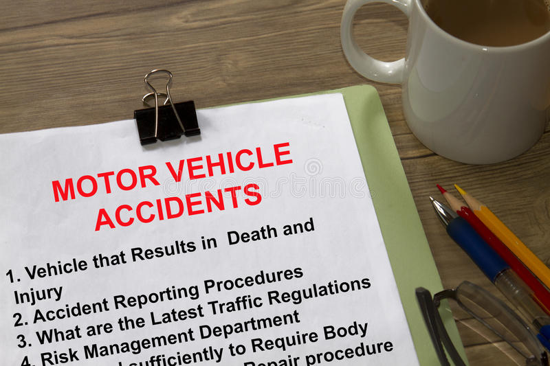Motor vehicle repording in an accident stock image