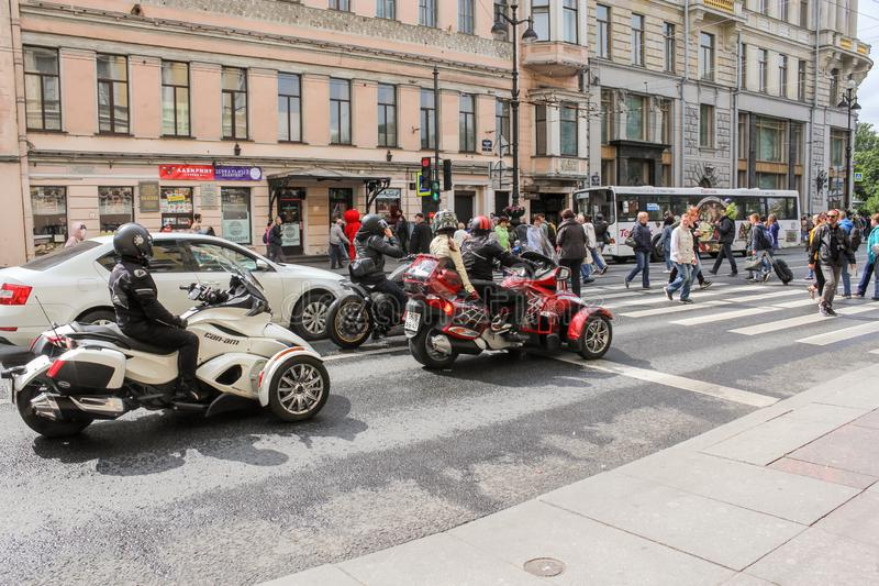 Motor vehicles on Nevsky Prospect stock image