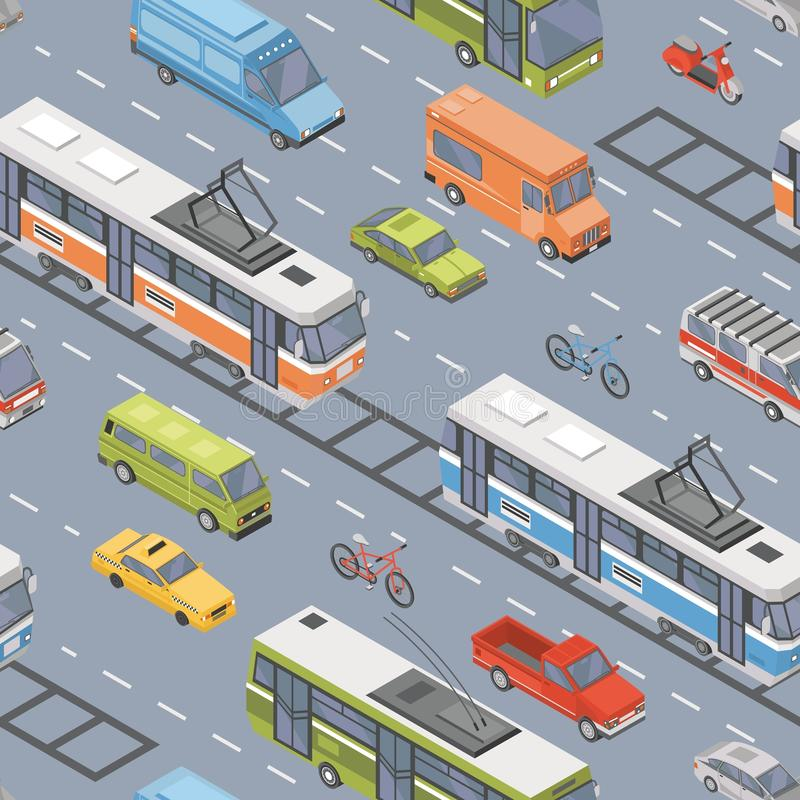 Motor vehicles of various types driving on road - car, scooter, bus, tram, trolleybus, minivan, pickup truck. Automobile. Transport on city street. Colorful vector illustration