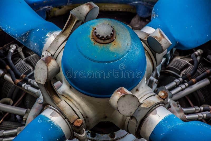 Motor velho da hélice de avião fotografia de stock