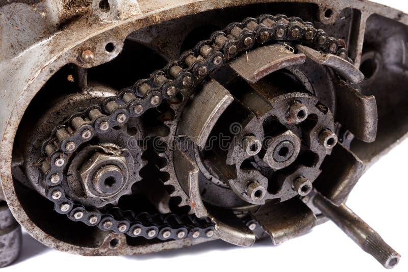 Motor velho desmontado da motocicleta fotografia de stock royalty free