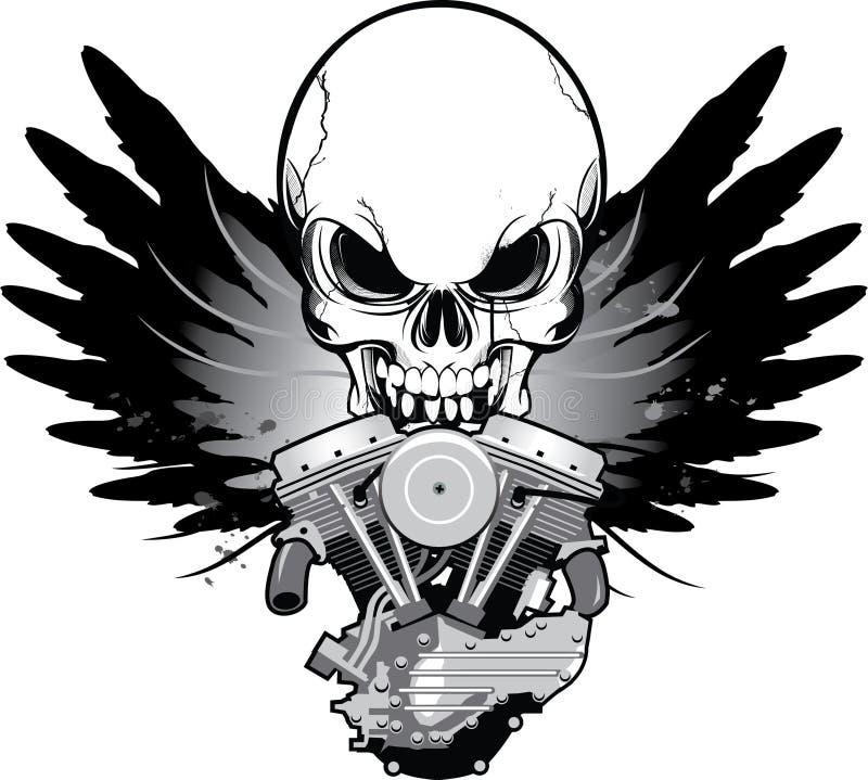 Motor voado da motocicleta com crânio ilustração do vetor