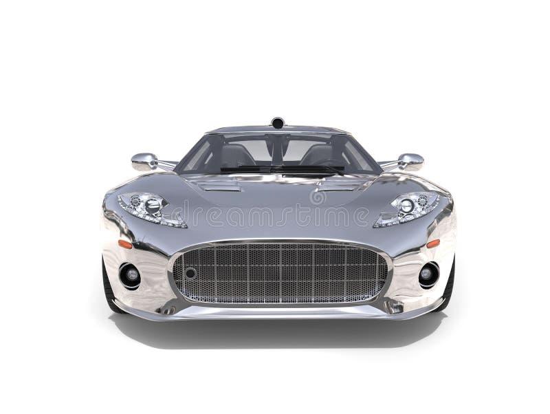 Motor- Vorderansicht des glänzenden silbernen ehrfürchtigen Supersports stock abbildung