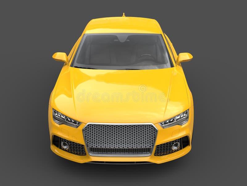 Motor- Vorderansicht des hohen Winkels des hellen gelben modernen Geschäfts vektor abbildung