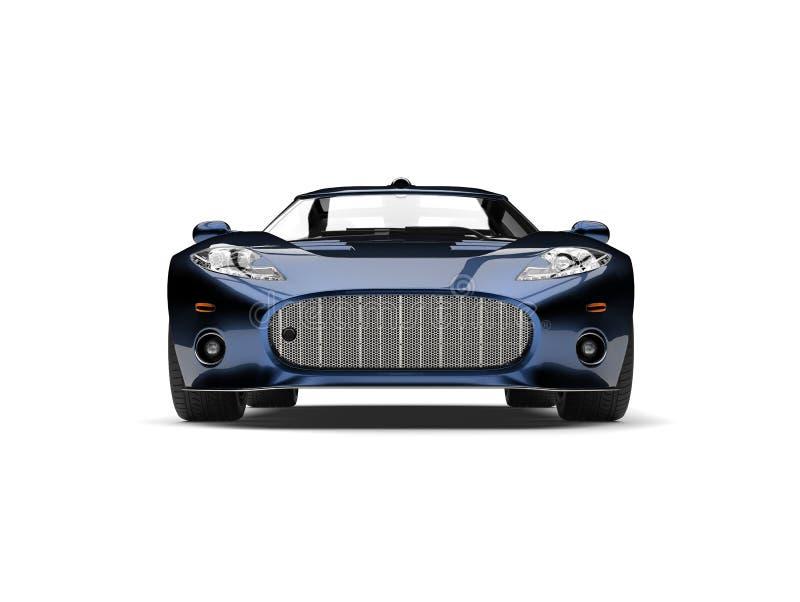 Motor- Vorderansicht des modernen metallischen tiefen blauen Supersports lizenzfreie abbildung