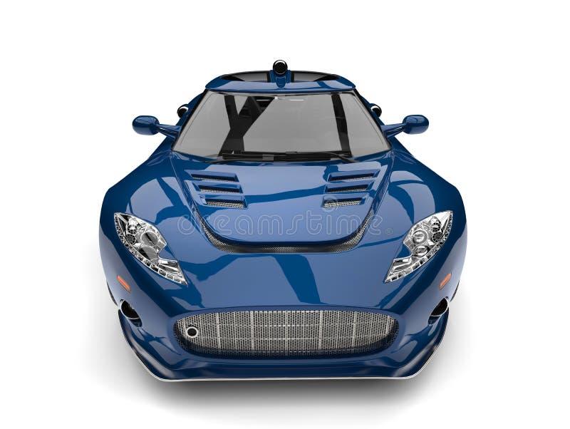 Motor- Vorderansicht-Nahaufnahmeschuß des Kadmiumblauen Supersports stock abbildung