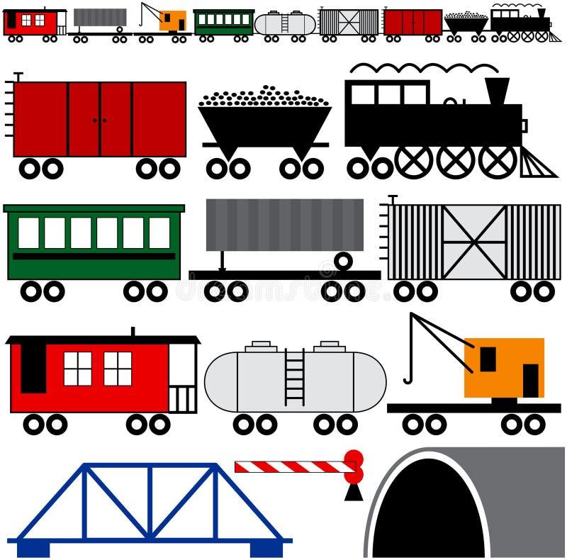 Motor y coches del tren stock de ilustración
