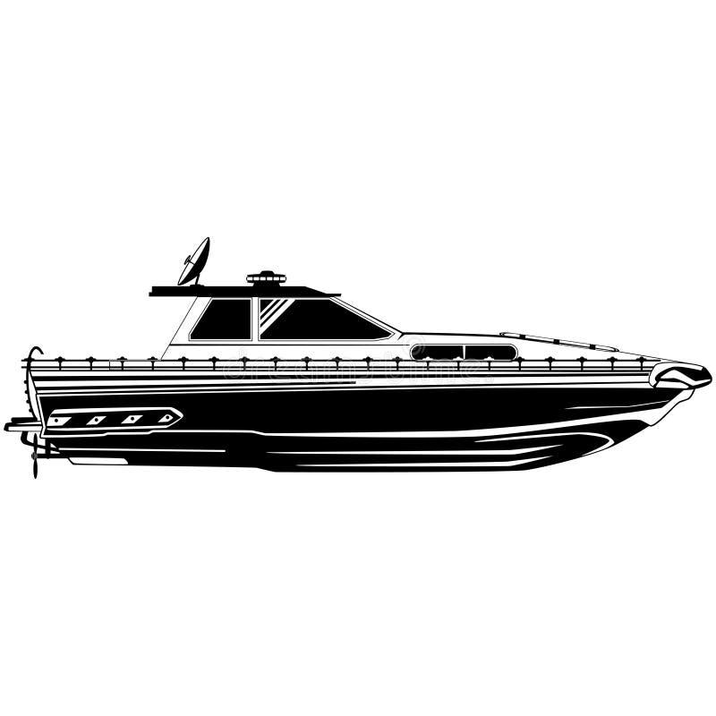 Motorbåt som fiskar för vektorsvart för motoriskt fartyg mallen royaltyfri illustrationer