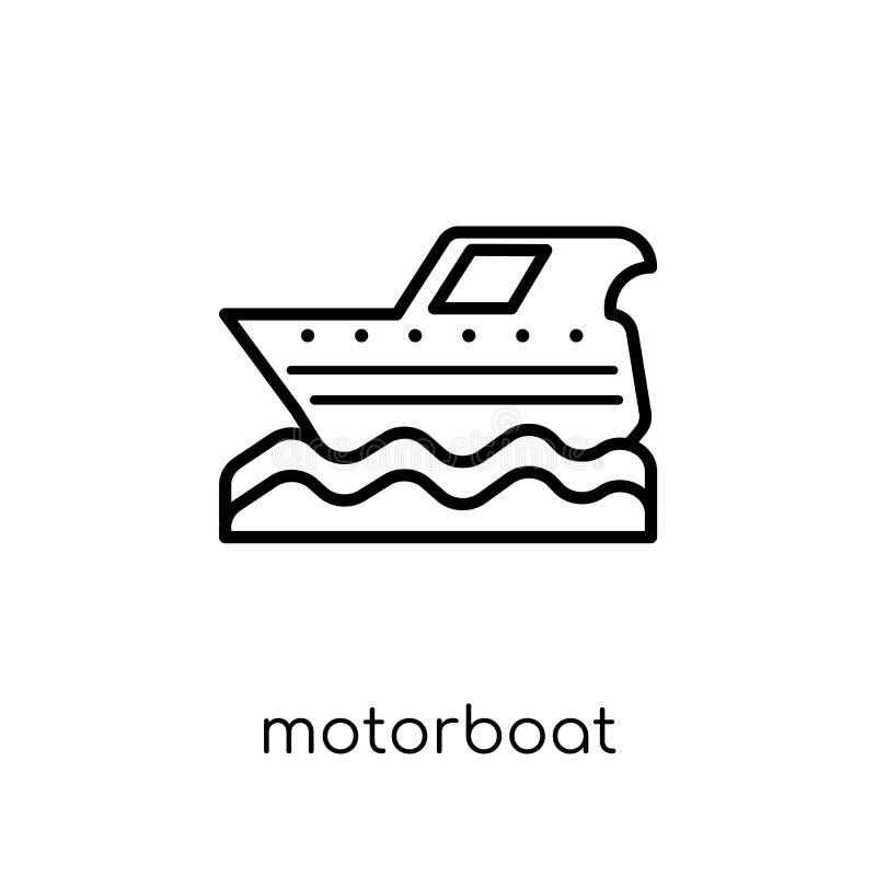 Motorbåtsymbol Moderiktig modern plan linjär vektormotorbåtsymbol royaltyfri illustrationer
