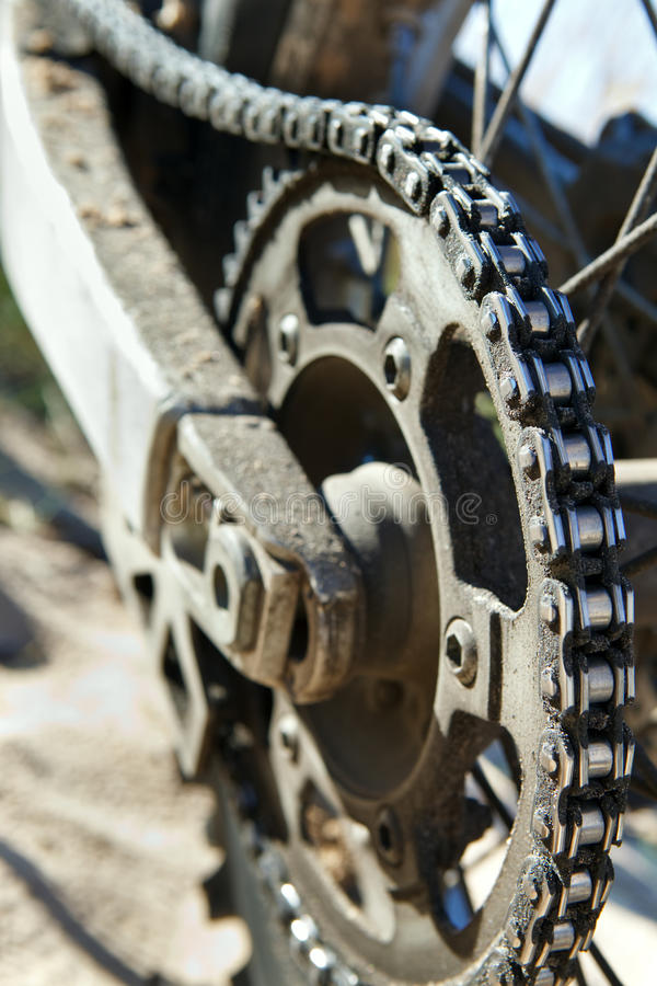 Motorbike chain close-up royalty free stock images