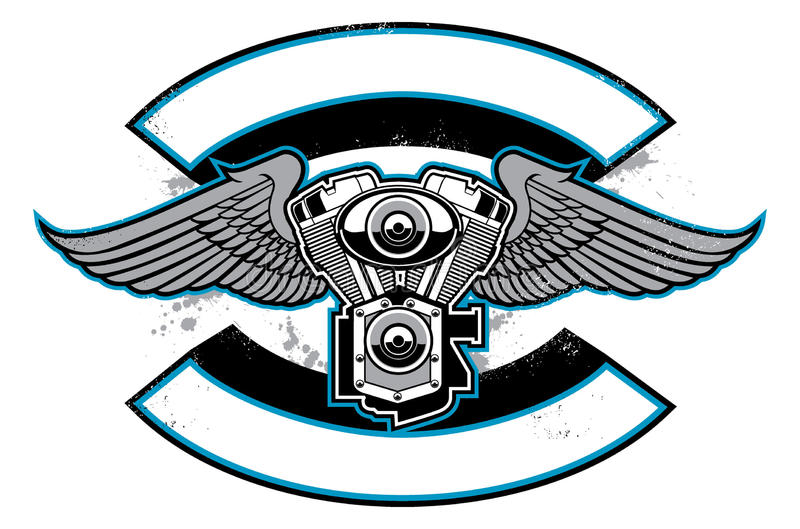 Motorbike club badge with engine and wings stock illustration