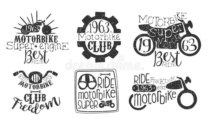 Motorbike Club Retro Labels Set, Super Motor Best Ride Hand Drawn Badges Monochrome Vector Illustrazione illustrazione di stock