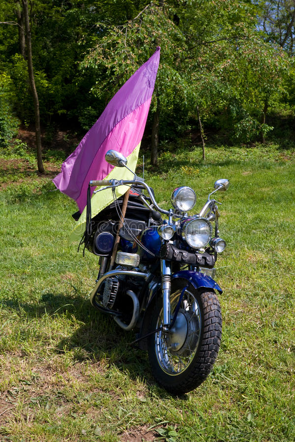 Motorbike on green grass. Motorbike with flag on green grass royalty free stock images