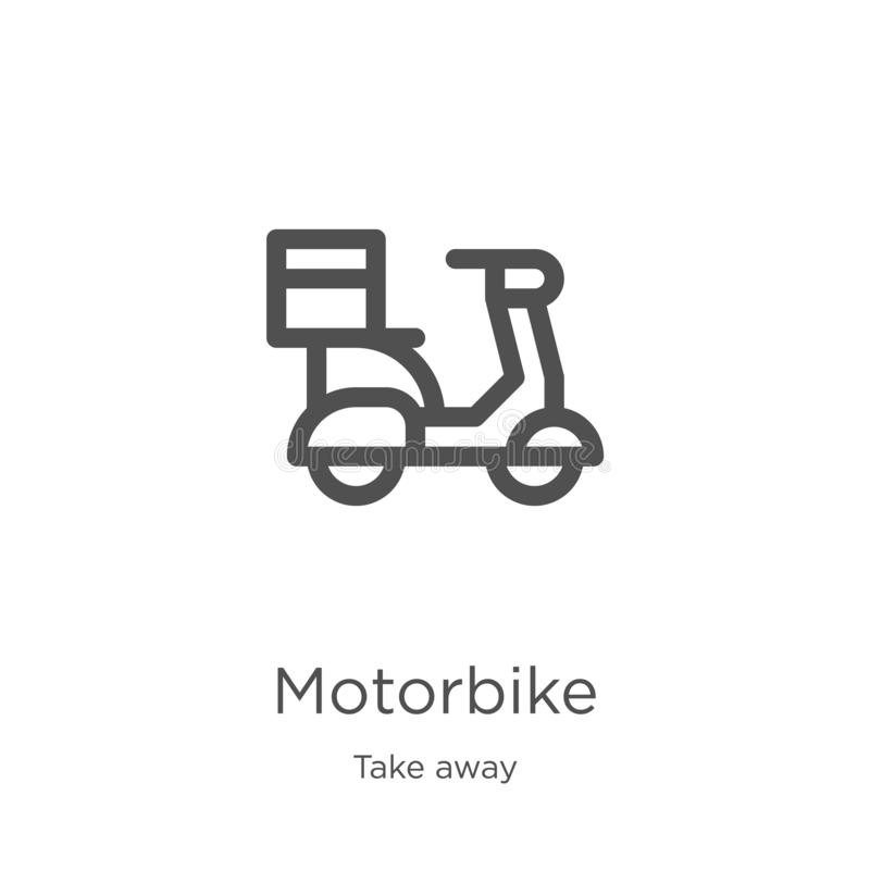 motorbike icon vector from take away collection. Thin line motorbike outline icon vector illustration. Outline, thin line royalty free illustration