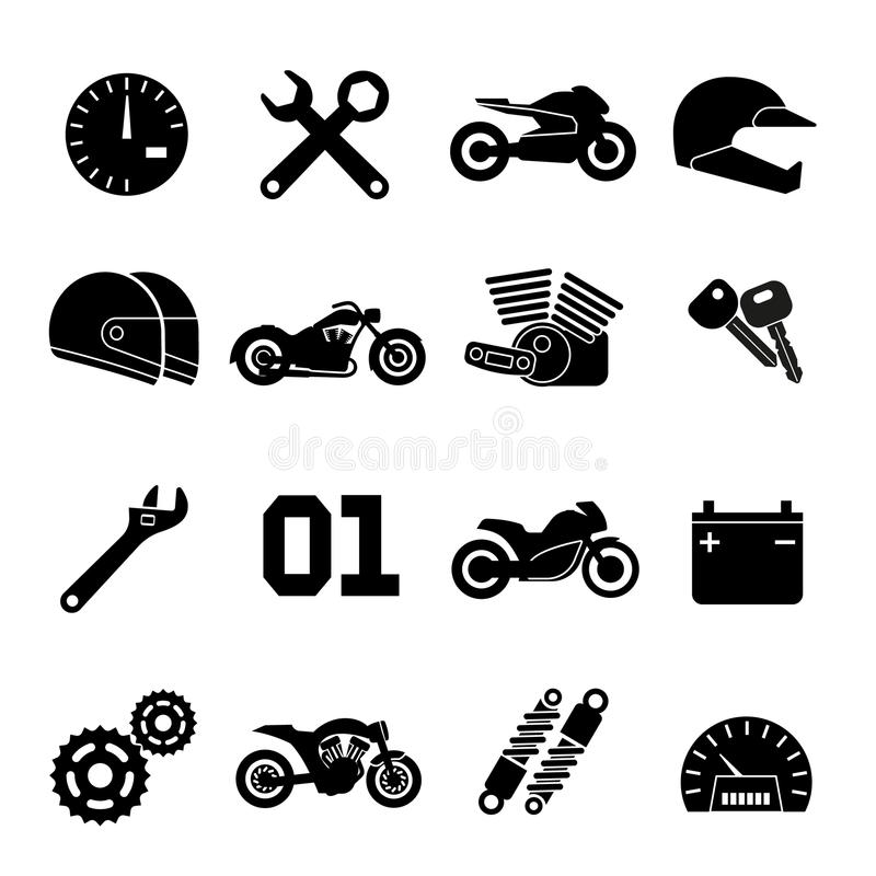 Motorbike, motorcycle race and spare parts vector icons royalty free illustration