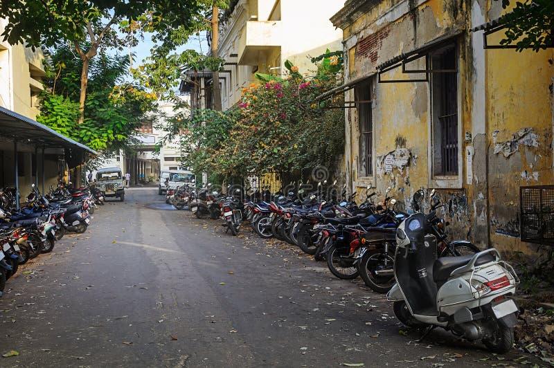 Motorbike parking . stock photos