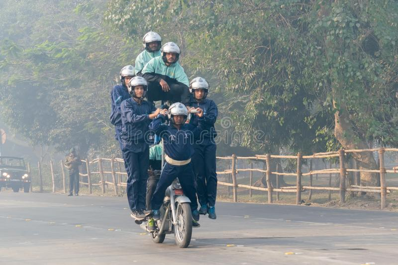 Motorbike rally by Indian Military. RED ROAD, KOLKATA, WEST BENGAL / INDIA - 21ST JANUARY 2018 : Indian army showing their bike riding skills at motorbike rally stock photos
