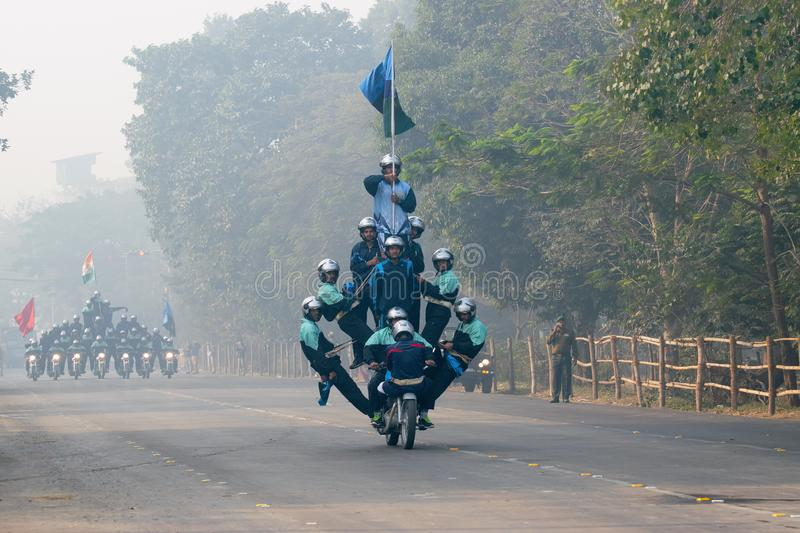 Motorbike rally by Indian Military. RED ROAD, KOLKATA, WEST BENGAL / INDIA - 21ST JANUARY 2018 : Indian army showing their bike riding skills at motorbike rally stock photography