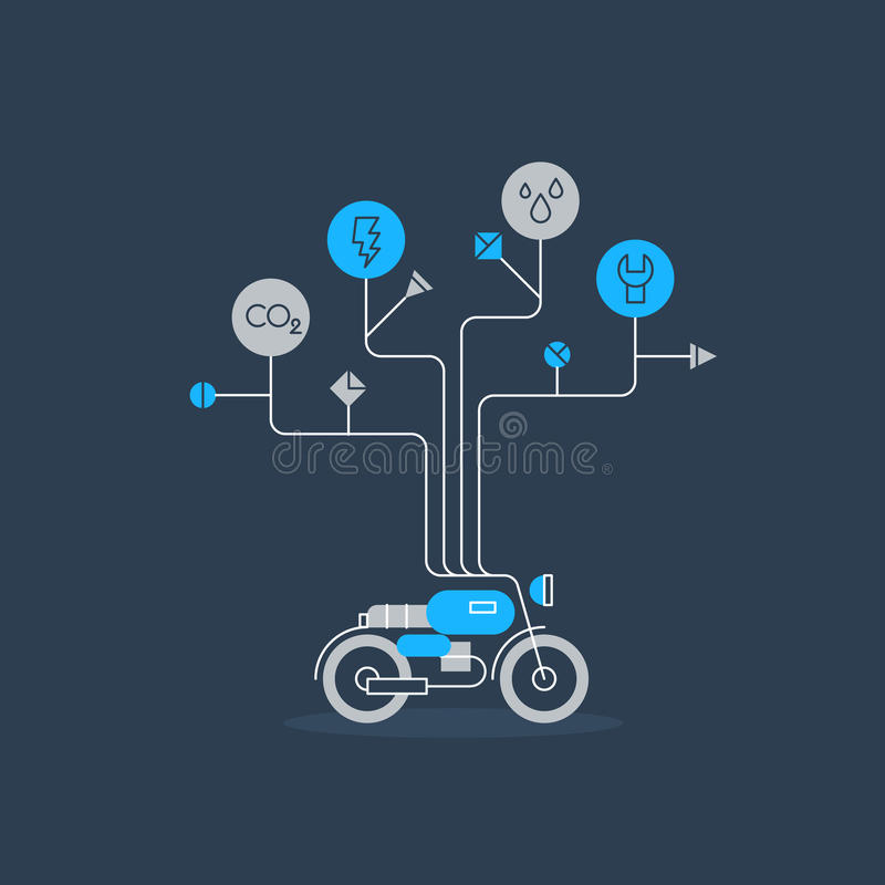 Motorbike repair services, thin lines graphic vector illustration