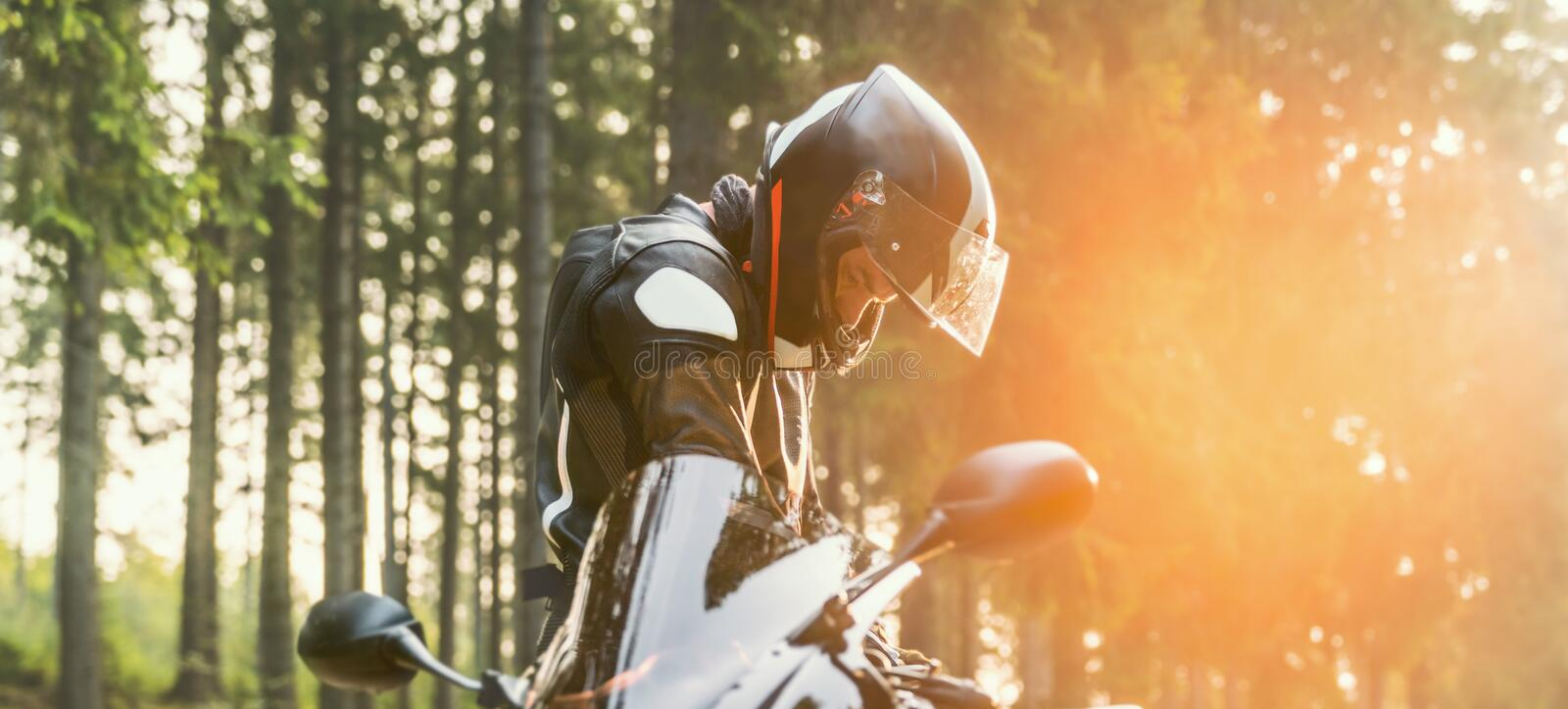 Motorbike on the road riding. having fun riding the empty road on a motorcycle tour / journey royalty free stock photography
