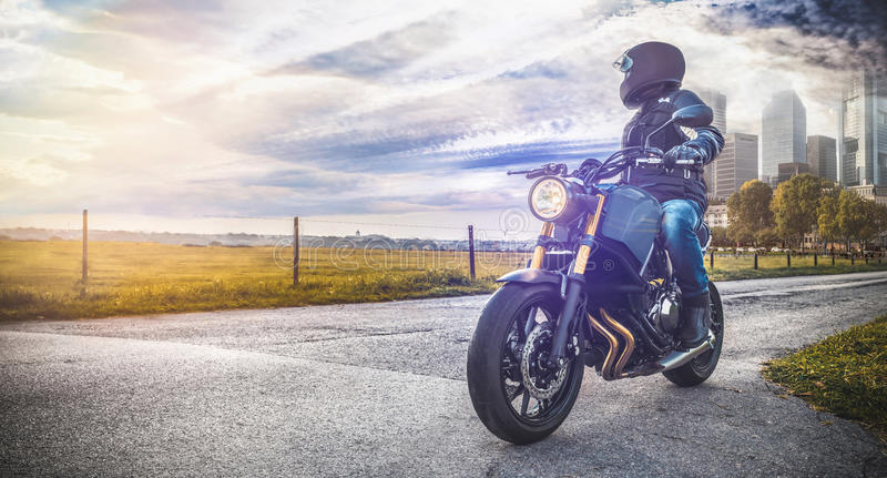 Motorbike on the road riding. having fun riding the empty road o royalty free stock photo