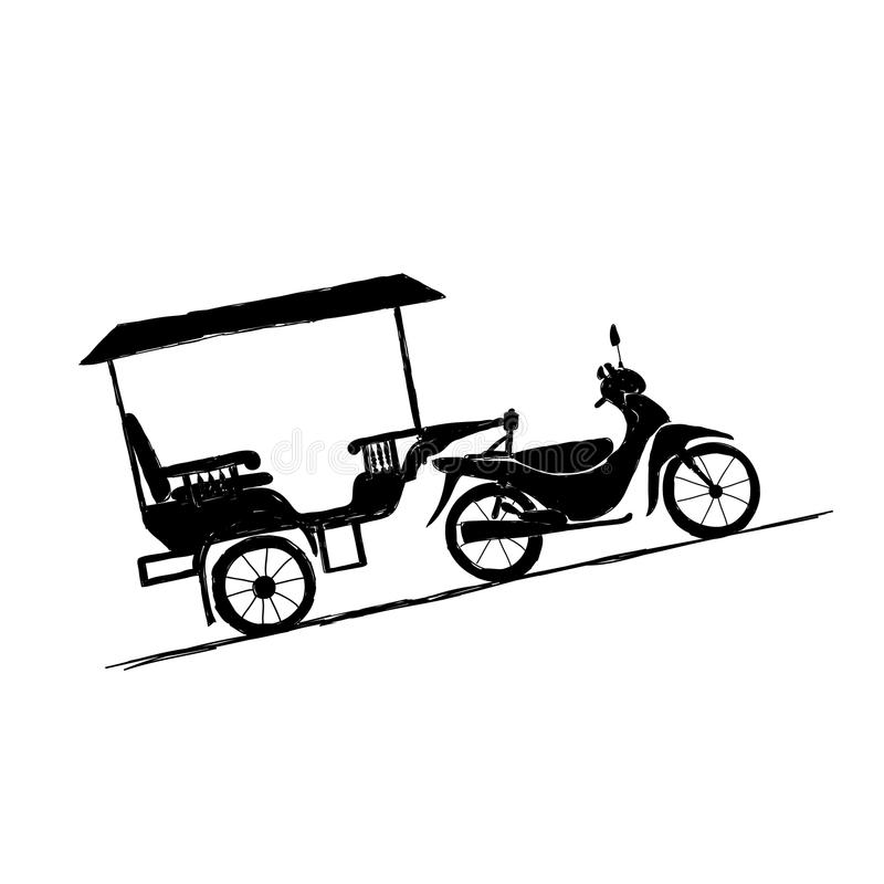 Download Motorbike Trailer, Taxi In Asian Cities Stock Vector - Image: 28932093