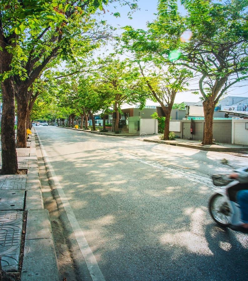 Motorbike on urban local road stock image