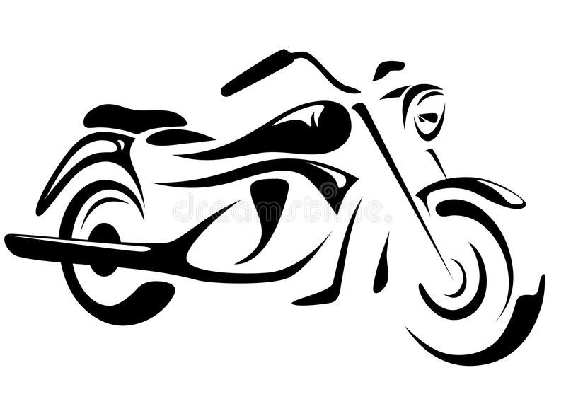 Motorbike vector. Motorcycle illustration - black and white outline
