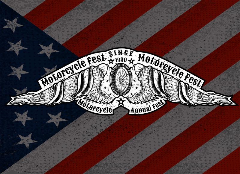 Motorbike wheel between wings with USA flags on Star and sripes background. Vintage motorcycle design on white. Motorbike wheel between wings with USA flags on vector illustration