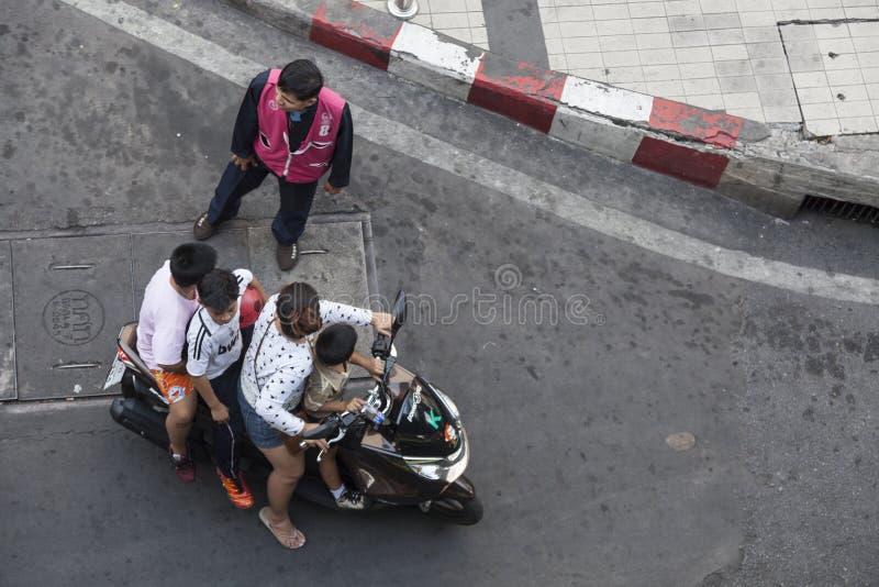 Family transportation in Bangkok, Thailand stock image