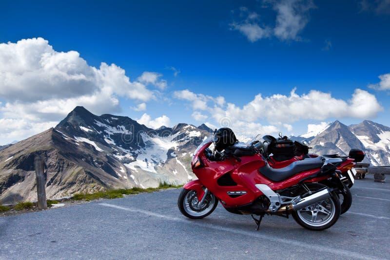 Motorbikes on mountain. Alps, Austria stock photography