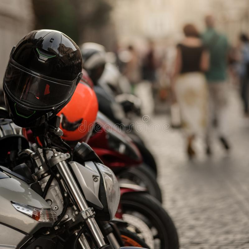 Motorbikes in old town stock images